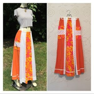 Vintage Hippie Patchwork Maxi Skirt
